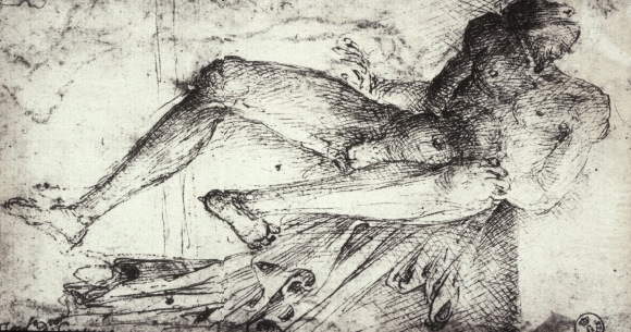 2-15 Parri Spinelli, Foreshortened Male Nude, ca. 1440. Pen and ink on paper, 18.6 x 10.3 cm. Uffizi, Florence.