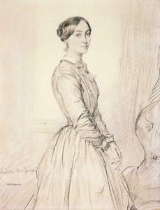 Théodore Chassériau, Portrait of Madame Burg de Balsan, 1847. Graphite. 33.3 x 26.1 cm. Philadelphia Museum of Art.