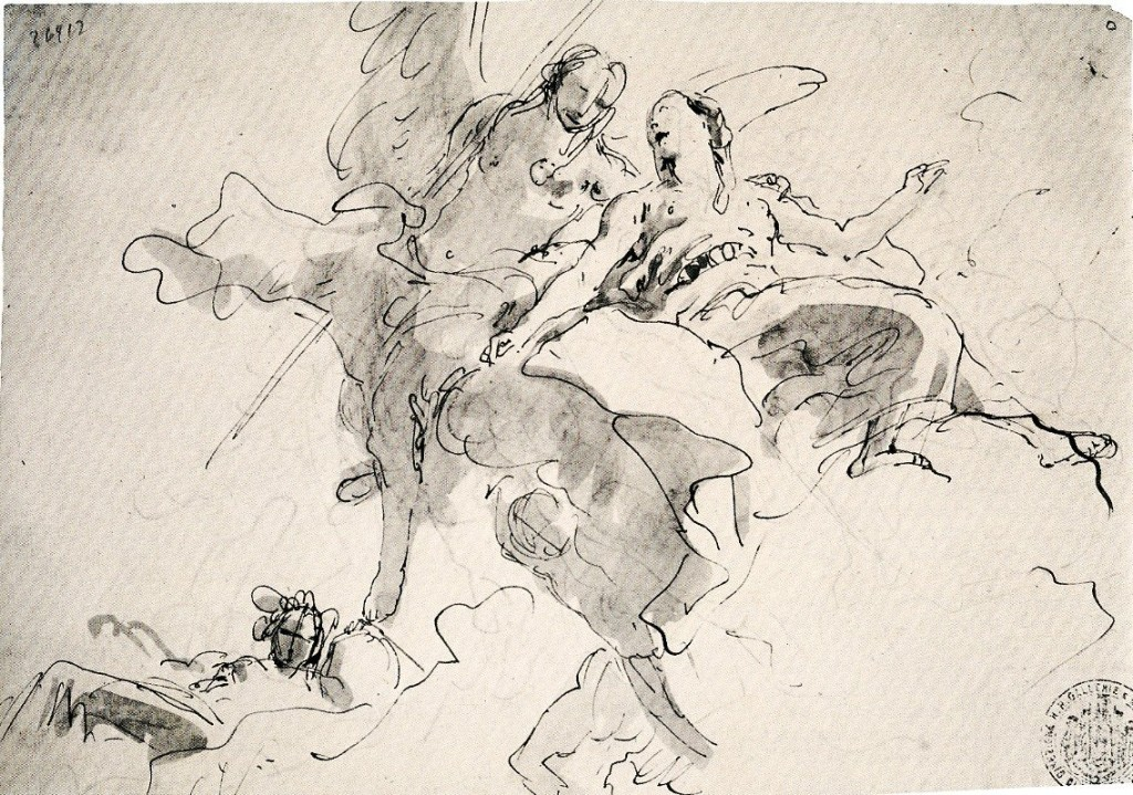 5-35 Giovanni Battista Tiepolo, Allegorical Group for a Ceiling (Palazzo Vecchia (Romanelli), Vicenza?), ca. 1755. Pen and wash, 20 x 28.8 cm. Civici Musei di Storia e Arte di Trieste. Inv. 2001.