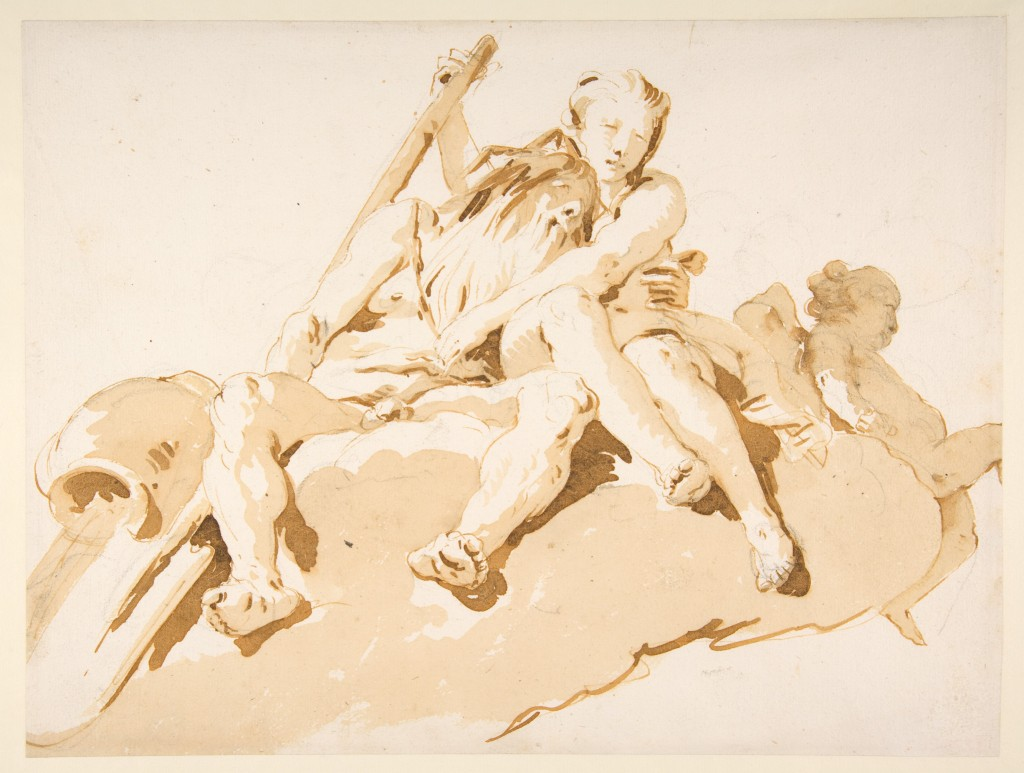 5-34 Giovanni Battista Tiepolo, Seated River God, Nymph with an Oar, Putto, ca. 1740. Pen and ink, brush and ink over black chalk, 23.7 x 31.3. New York, Metropolitan Museum of Art.