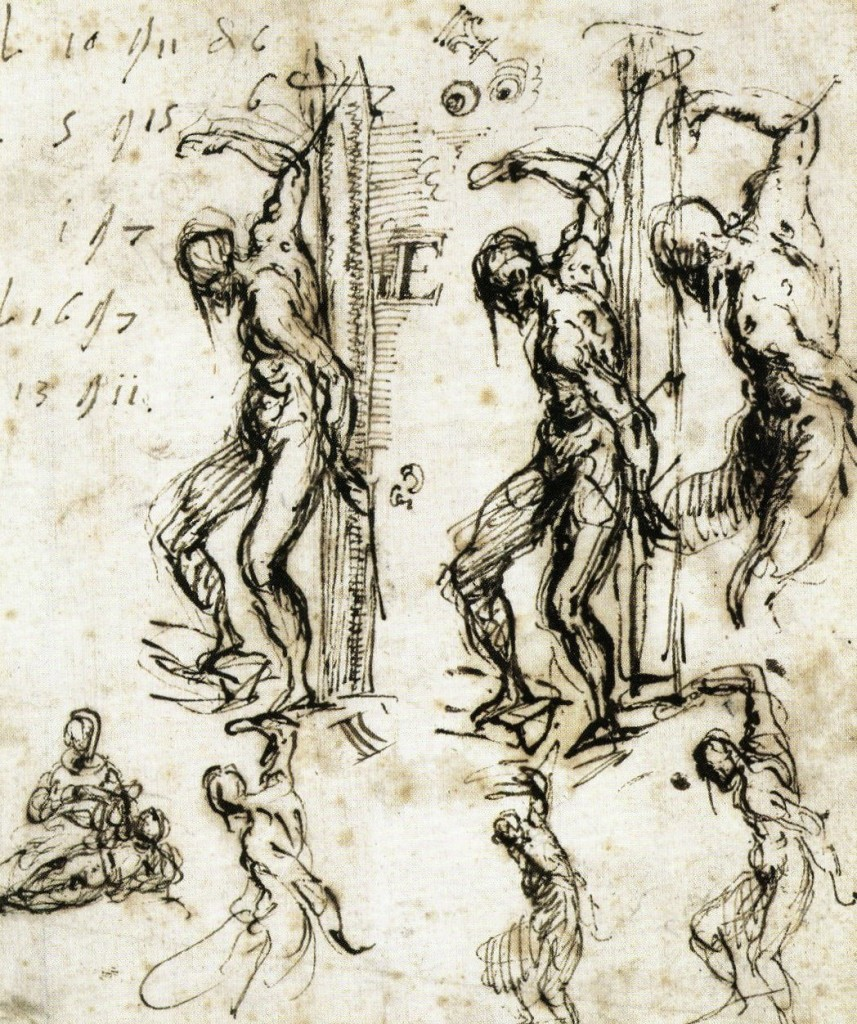 3-33 Titian, Six Studies for St. Sebastian, c. 1520. Pen and brown ink, 16.2 x 13.6 cm. Kupferstichkabinett, Berlin-Dahlem.