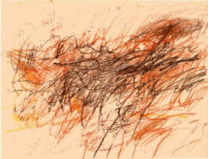 Cy Twombly, Untitled, 1954. Colored pencil, crayon, 48.5 x 64 cm.