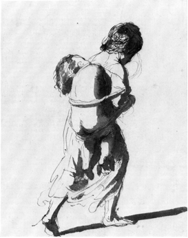 4-11 Guercino, Girl Carrying a Sleeping Nude Baby, mid 1640s. Pen and brown ink and dark brown wash, 19 x 14.8 cm. Windsor, Royal Library.