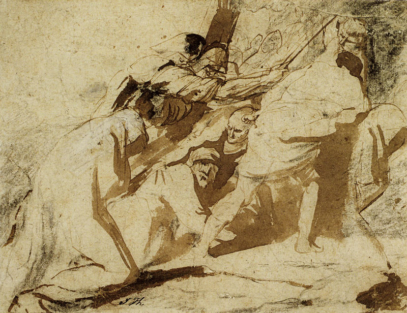 4-33 Anthony van Dyck, The Carrying of the Cross, ca. 1617-18. Black chalk with pen and brown ink and brown wash, some white bodycolor on the robe of the Virgin, 15.9 x 20.5 cm. Musée des Beaux-Arts (Wicar Collection), Lille.