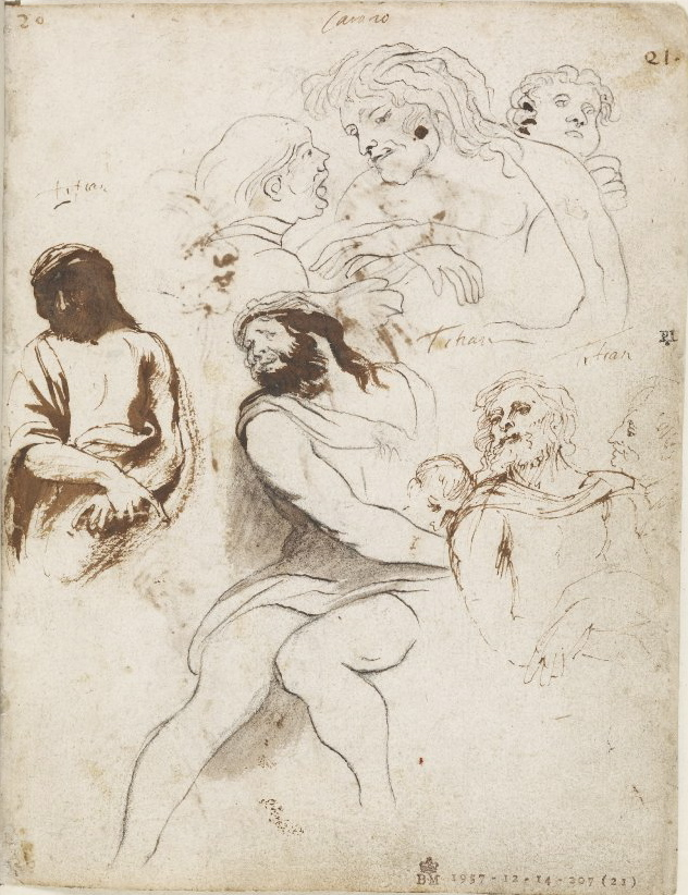 4-35 Anthony van Dyck, Copies after Titian and Annibale Carracci, Italian Sketchbook, folio 21r. The British Museum, London.