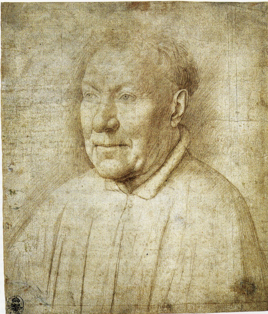 2-24 Jan van Eyck, Portrait of an Unknown Man, ca. 1435-40. Silverpoint, 21.2 x 18 cm. Kupferstichkabinett, Dresden.