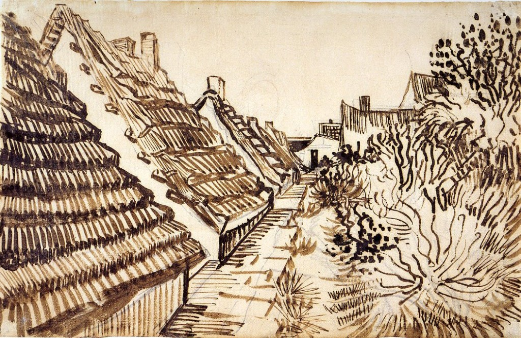 6-46 Vincent Van Gogh, Cottages, Saintes-Maries-de-la-Mer, 1888. Reed pen, pen and brush, 30.5 x 47 cm. Private collection, on deposit at the Pierpont Morgan Library, New York.