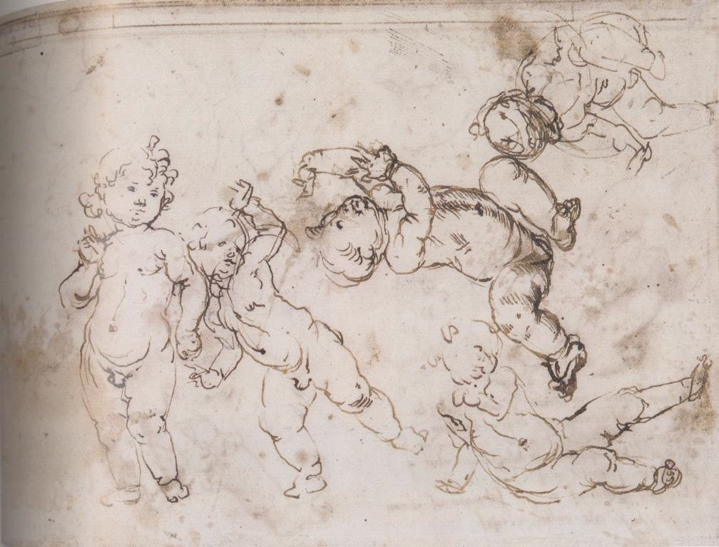 2-18 Andrea Verrocchio, Sketches of Infants, verso, 1470s. Pen and dark brown ink, over traces of leadpoint or soft black chalk, 15.8 x 21 cm. Musée du Louvre, Paris.