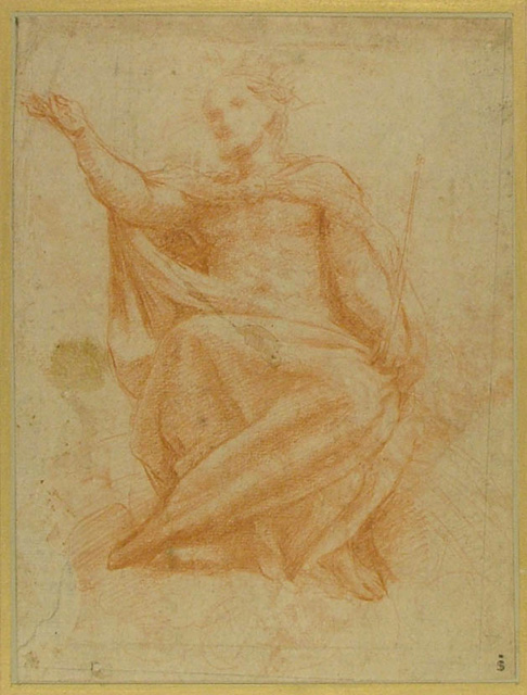 3-42 Correggio, Christ, ca. 1522. Red chalk, 23.9 x 18.0 cm. Ashmolean Museum, Oxford.