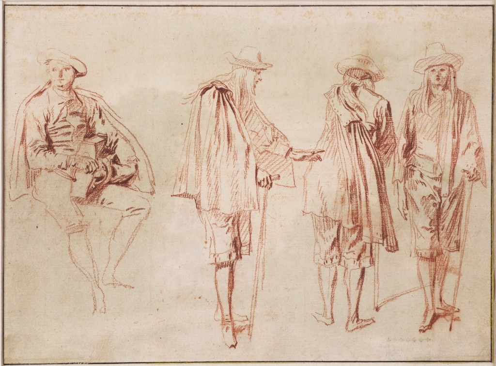 5-1 Antoine Watteau, A Hurdy Gurdy Player and Three Sketches of a Man, ca. 1714. Red chalk on cream paper, 16.2 x 22 cm. Teylers Museum, Haarlem.