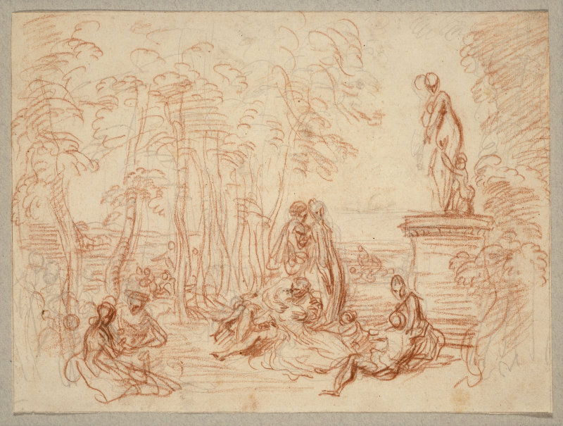 5-4 Antoine Watteau, The Pleasures of Love, 1717-18. Red chalk and graphite on cream paper, 19.5 x 26.4 cm. The Art Institute of Chicago.