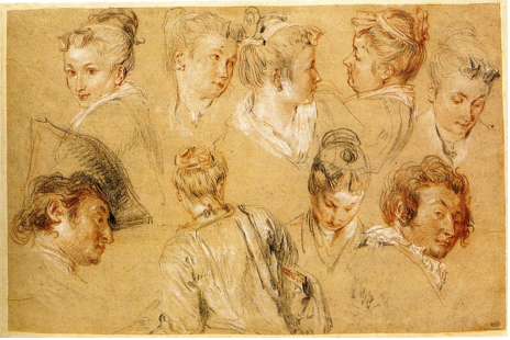 5-3 Antoine Watteau, Nine Studies of Heads, ca. 1716. Red, black, and white chalk on gray-brown paper, 26.2 x 41.6 cm. Musée du Petit Palais, Paris.