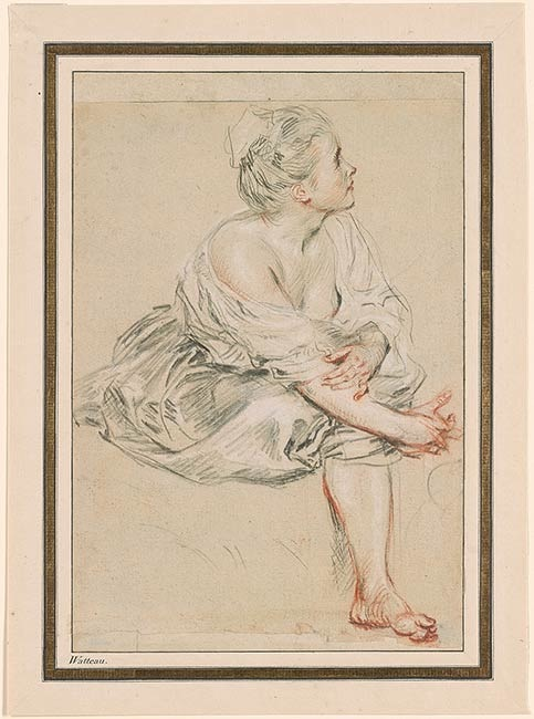5-5 Antoine Watteau, Seated Young Woman, ca. 1716-17. Red, black, and white chalk on cream paper, 25.5 x 17.2 cm. The Pierpont Morgan Library, New York.