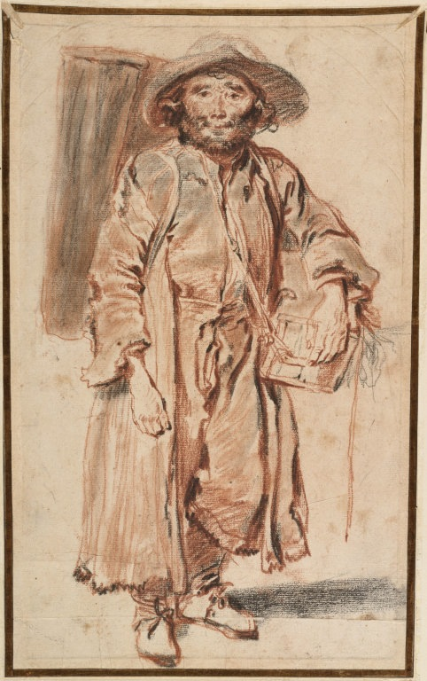 5-2 Antoine Watteau, Bearded Savoyard Standing, ca. 1715-16. Red and black chalk on cream paper, 36 x 22.4 cm. The Art Institute, Chicago.