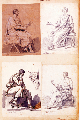 5-25 Jacques-Louis David, Album 11, folio 7, 1775-1780 or 1784-1785. Pen and ink, wash, chalk, and pencil, 5.1 x 33 cm. Research Library, The Getty Research Institute, Malibu.