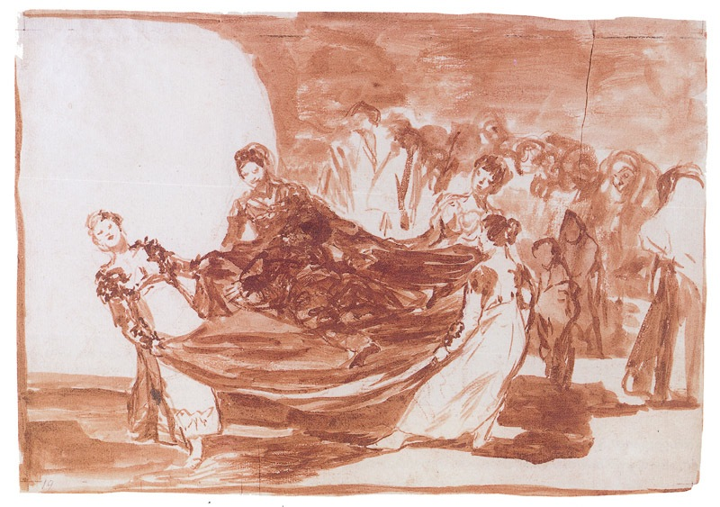 5-53 Francisco Goya, Disparate 1: Disparate Feminino (Feminine Folly), ca. 1815-1824. Red chalk wash, traces of red chalk, 23.3 x 33.3 cm. Prado Museum, Madrid.