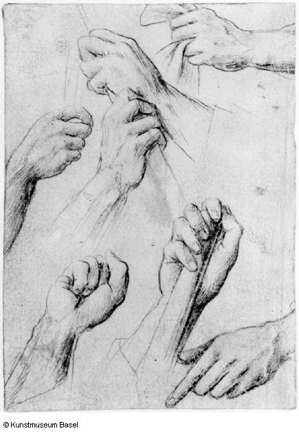 3-55 Hans Holbein the Elder, Study Sheet with Seven Hands, ca. 1502. Silverpoint on blue-gray prepared paper, 14.1 x 10.0 cm. Kupferstichkabinett, Basel.