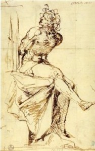 5-43 Alonso Cano, Seated Nude Youth, 1645-1649. Pen, 21.9 x 13.7 cm. Uffizi, Florence.