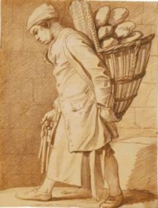 5-16 Edmé Bouchardon, Boy Delivering Bread (Garçon Boulanger), ca. 1737. Red chalk on buff paper mounted in an album, 23 x 17.5 cm. British Museum, London.