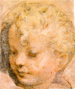3-44 Parmigianino, Head of a Child, 1527. Black, red, and white chalk, 22.7 x 19.6 cm. Albertina, Vienna.