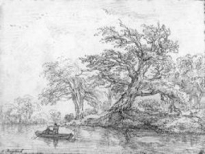 4-44 Jacob van Ruisdael, Trees at the Edge of the River, ca. 1655. Black chalk, 14.5 x 19.1 cm. National Gallery of Art, Washington, D.C.