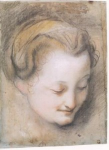 3-50 Federico Barocci, Head of a Woman, ca. 1574-75. Black, red, and white chalks; ochre and brown pastels; on gray-blue paper, 33.0 x 24.6 cm. Smith College Museum of Art, Northhampton.