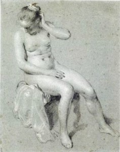 4-57 Jacob Backer, Seated Female Nude, ca. 1650. Black and white chalk on blue paper, 28.8 x 22.8 cm. The Maida and George Abrams Collection, Fogg Art Museum, Cambridge.