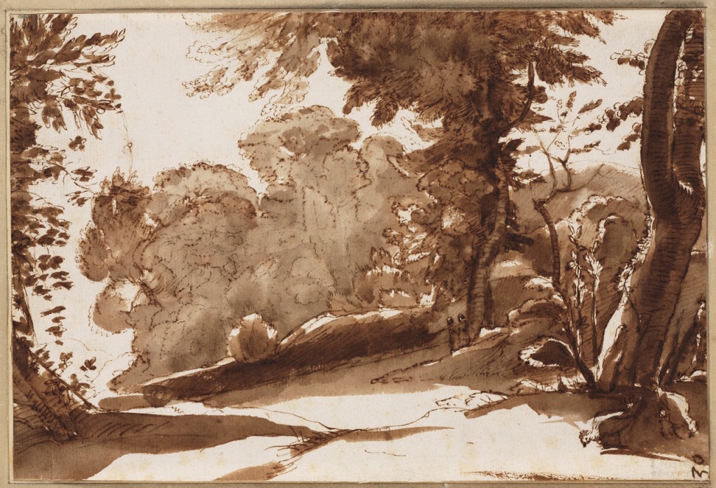 4-16 Claude Lorrain, Wooded Scene, from the Tivoli Book, 1640-1645. Pen, brown wash, 21.0 x 29.7 cm. Tyler Museum, Haarlem.