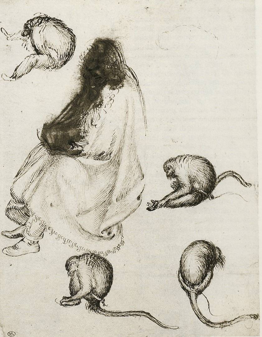 2 6 pisanello seated pilgrim and four monkeys pen and ink traces