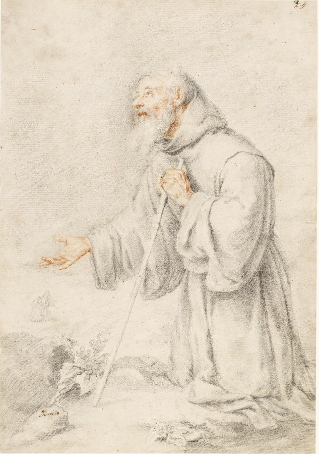 5-45 Bartolomé Esteban Murillo, Saint Francis of Paula, 1665-70. Red and black chalk, 33.3 x 23.3 cm. British Museum London.
