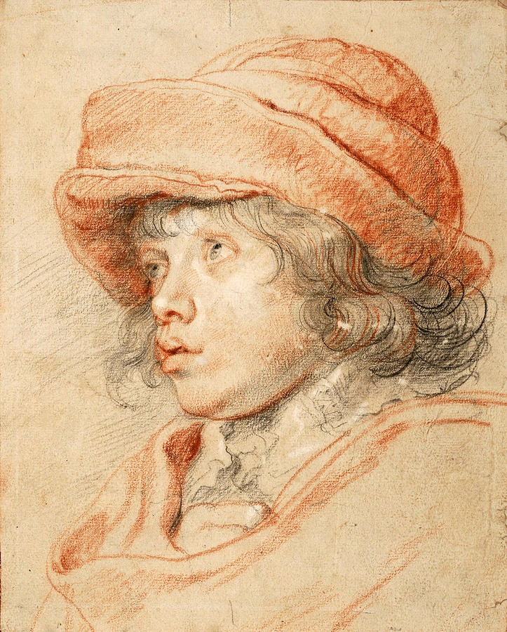 4-32  Peter Paul Rubens, Nicolaas Rubens Wearing a Red Felt Cap, ca. 1625-27. Red, black, and white chalk, 29.2 x 23.2 cm. Albertina, Vienna.