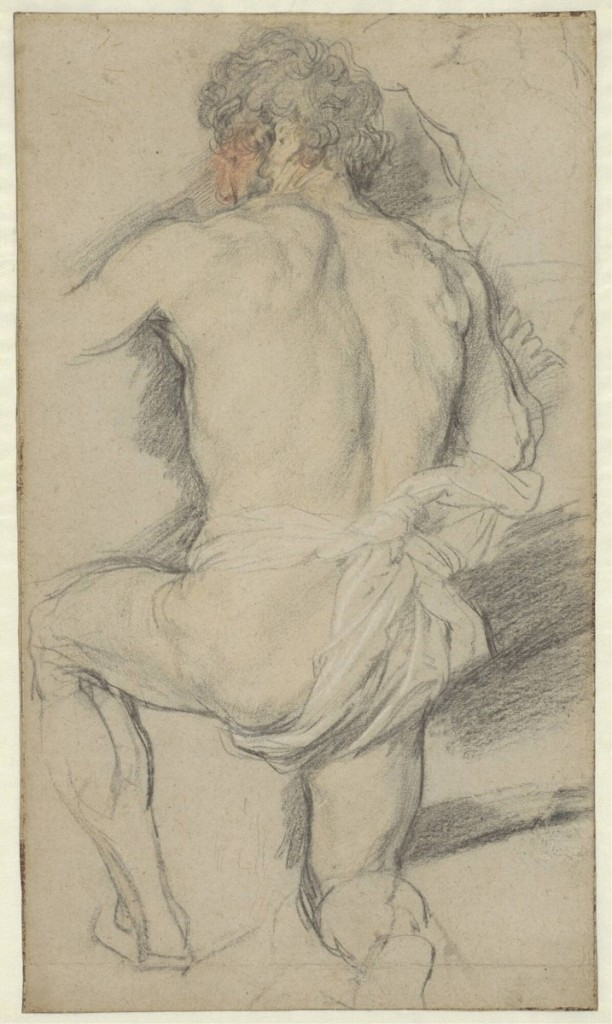 4-34 Anthony van Dyck, A Kneeling Man, Seen from Behind, 1618-21. Black, red, and yellow chalk, heightened with white. 46.3 x 27 cm. The Museum Boijmans Van Beuningen, Rotterdam.